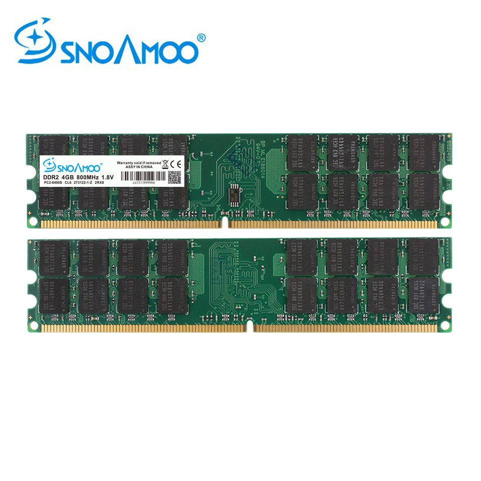 SNOAMOO Ram DDR2 4GB 800MHz PC2-6400 Desktop PC DIMM Memory 240 pins For AMD System High Quality Compatible