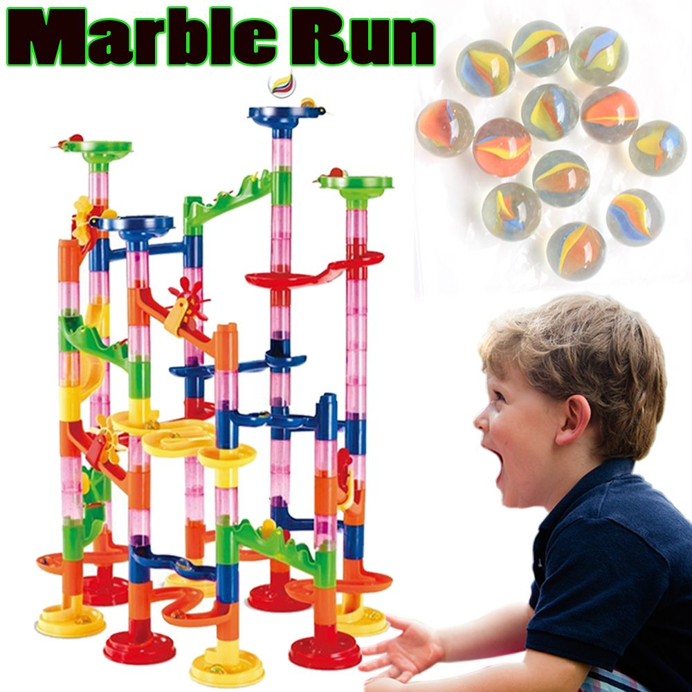 Brand New Plastic Modeling Kits Set 2017 Marble Run Toy for Kids 105PCS Assembly 3D Model Building Blocks with Rolling Pin Balls