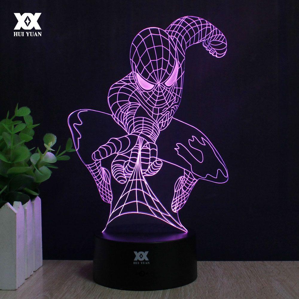 Человек-паук 3d лампа капитан америка серии лампы led novelty night lights usb праздник света светящиеся рождественский подарок хуэй юань марка