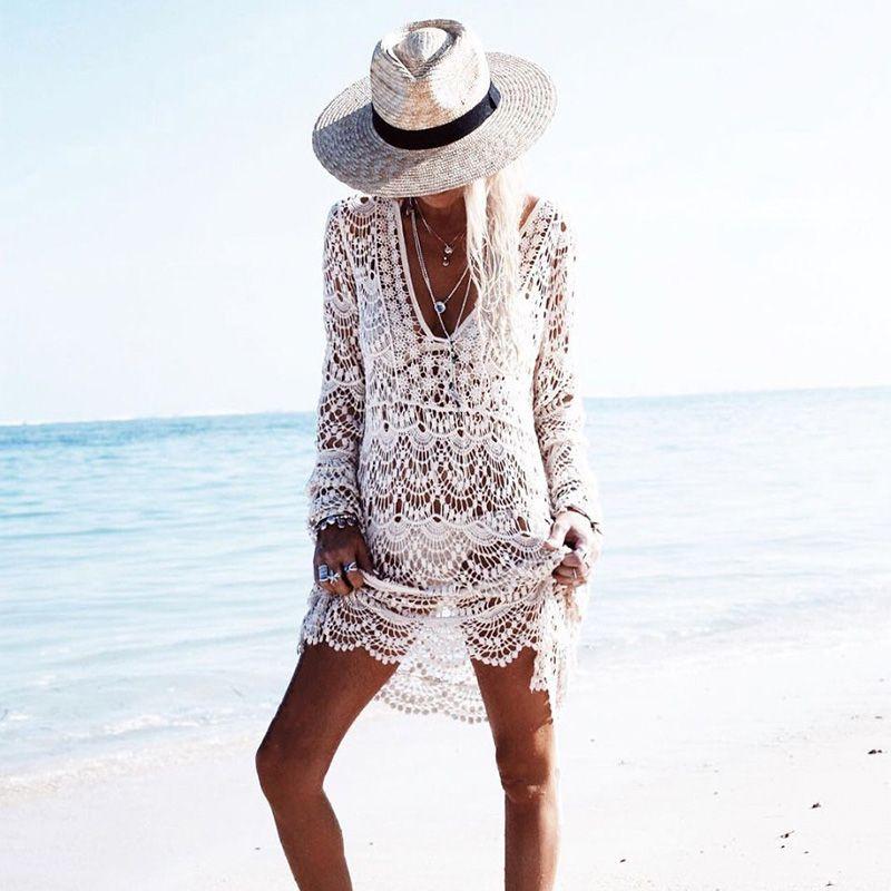 2018 Sexy Beach Cover up Häkeln Weiß Bademode Kleid Damen Badeanzug vertuschungen Strand Tunika Saida de Praia