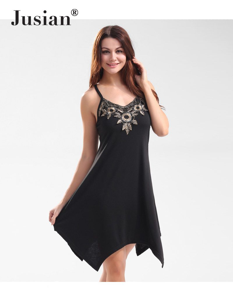 Jusian Women's Fashion Sexy Spaghetti Strap V-Nech Backless Dress Solid Color Appliques Asymmetrical Dress LST-WSJ177