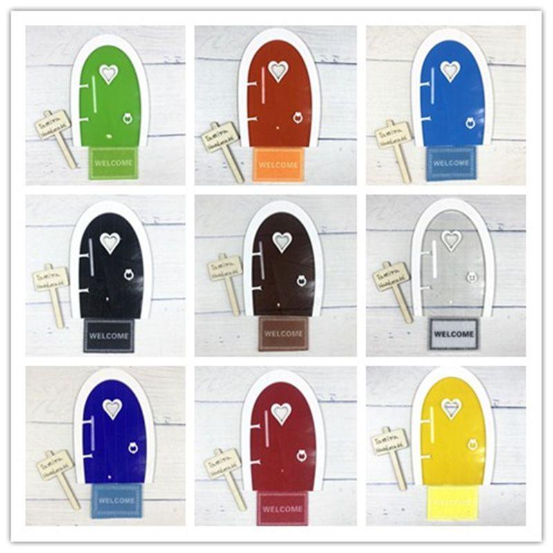 10 couleurs dents fée porte pour arbre extérieur Miniature fée jardin conte de fées porte décor à la maison avec tapis de bienvenue et panneau de signalisation