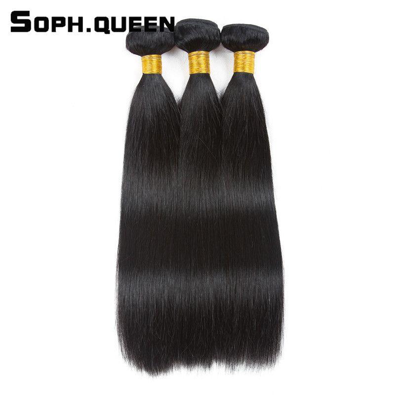 Soph reina negro natural pelo no Remy brasileño de la onda recta 3 paquetes humano 100% Extensiones de pelo 3 unids/pack tejer envío libre