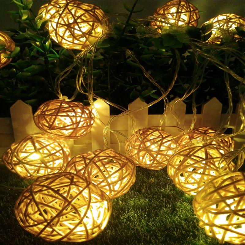 5 m 20 Balle de Rotin guirlande Led lumière de noël 220 V 110 V jardin pendentif de vacances Guirlande De Mariage décoration fée lumières partie