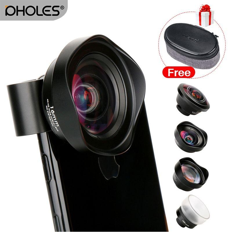 Kit d'objectif pour téléphone portable 4 en 1 téléobjectif grand Angle objectifs Macro Fisheye pour iPhone Xs Max X 8 Huawei P20 Pro Samsung