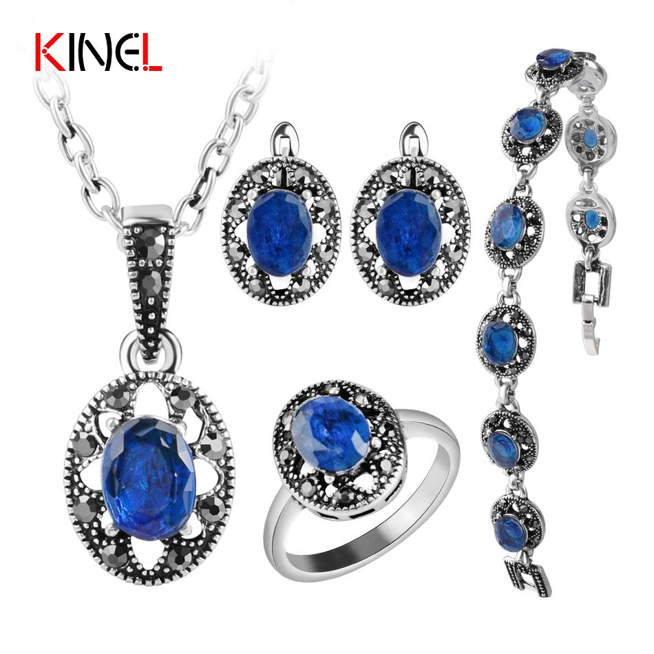 2017 NEW Blue Crystal Bridal Jewelry Sets For Women Silver Colour Bracelet Earrings Necklace Rings Vintage Jewelry Set