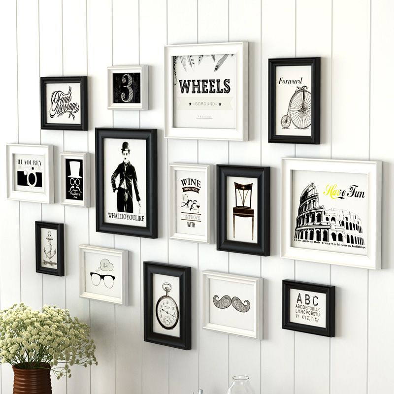 Retro Wall Hanging Picture Frame Black & White Frames Set For Home Background Decor Family Photo Frames marcos para fotos 15Pcs