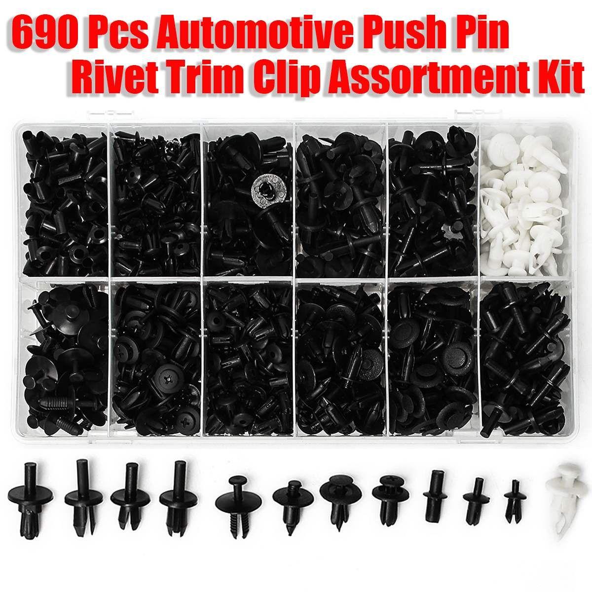 690Ppcs/Set  Car Push Pin Rivet Trim Moulding Clip Fastener Assortment Plastic Hole Fastener  Bumper Push Body Interior