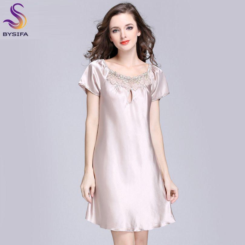 2017 New Sweet Young Women Silk Nightgown Printed Fashion Knee-length Girl Sleepwear <font><b>Summer</b></font> Ladies Sleepshirts Pink,Camel,Blue