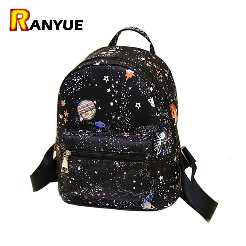 Mode Star univers espace impression sac à dos noir sacs d'école pour adolescentes petit sac à dos femmes en cuir Mochila Escolar