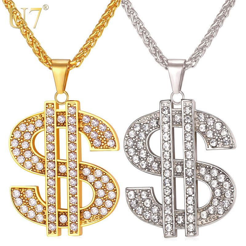 U7 US Dollar Money Necklace & Pendant 316L Stainless Steel/Gold Color Chain For Women/Men Rhinestone Hip Hop Bling Jewelry P1003