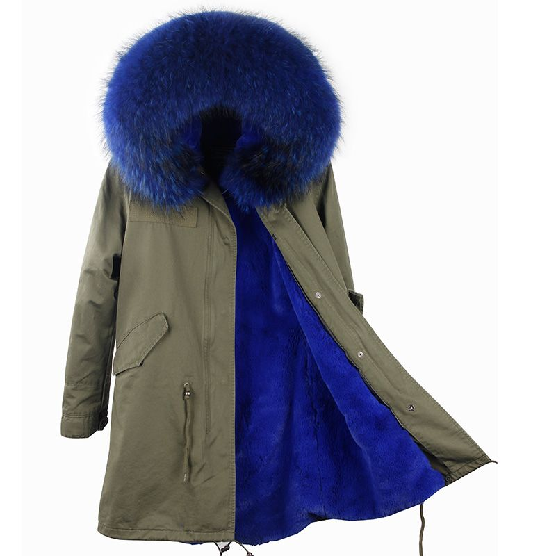 2017 Parka Real Fur Winter Brand Detachable Lining Casual Army Green Large Fur Hooded Down Jackets Outwear Good fur Parka Women