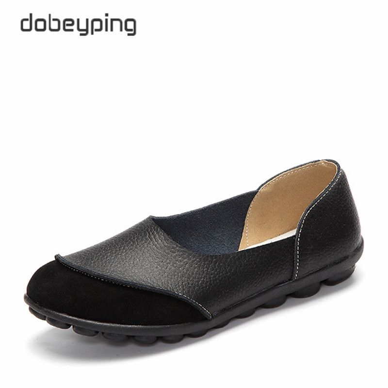 2017 New Women's Casual Shoes Soft Genuine Leather Female Flats Non-Slip Woman Loafers Leisure Slip-On Boat Shoe Plus Size 35-43