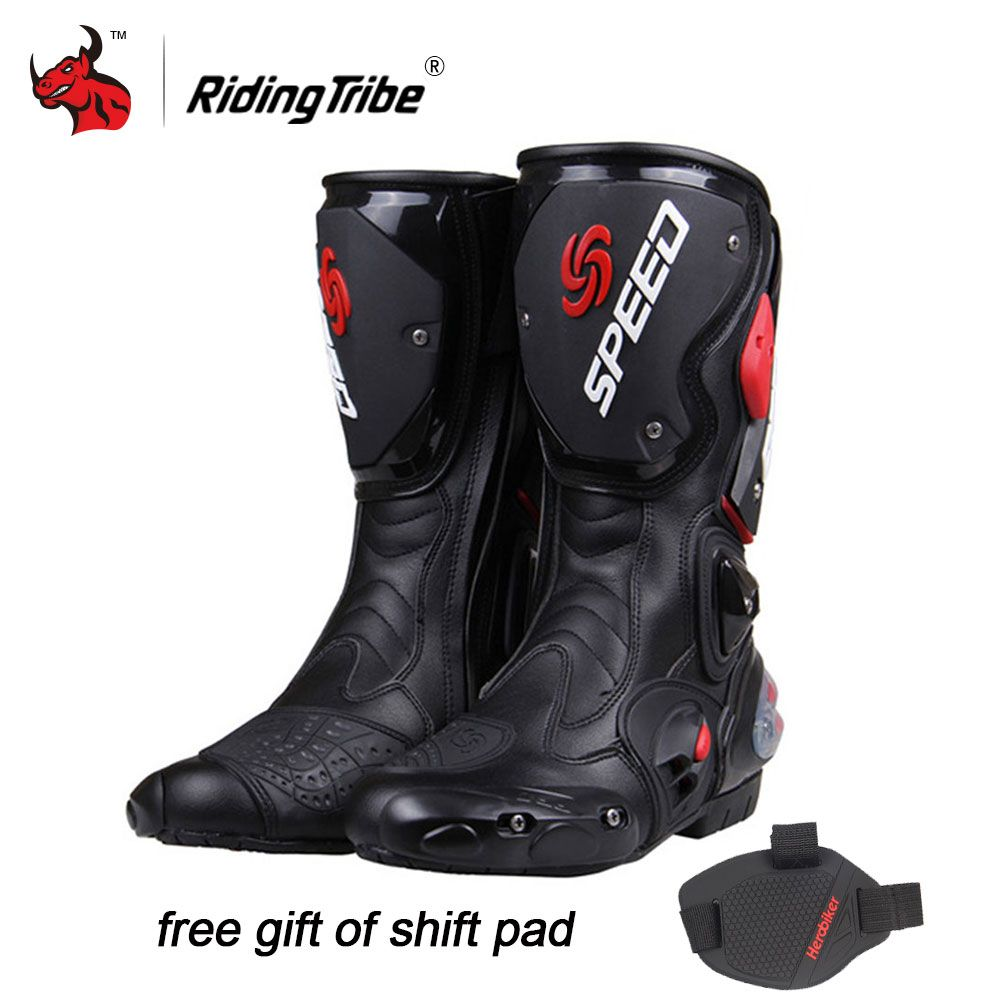 Riding Tribe Professional Racing Motocross Boots Men's High Cylinder Boots Fashion Leather Motorcycle Boots BLACK RED WHITE