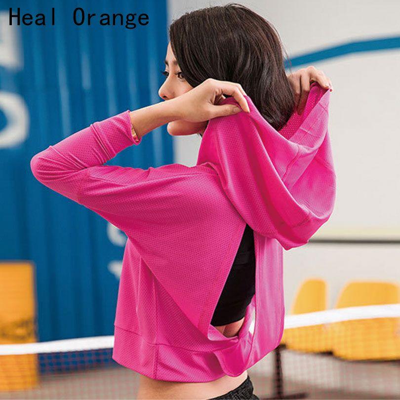Heilen Orange Laufschuhe Damen Jacken Hoodie Frauen Übung Bekleidung Laufjacke Für Frauen Gym Jacke Outdoor Kurze Stil Mantel