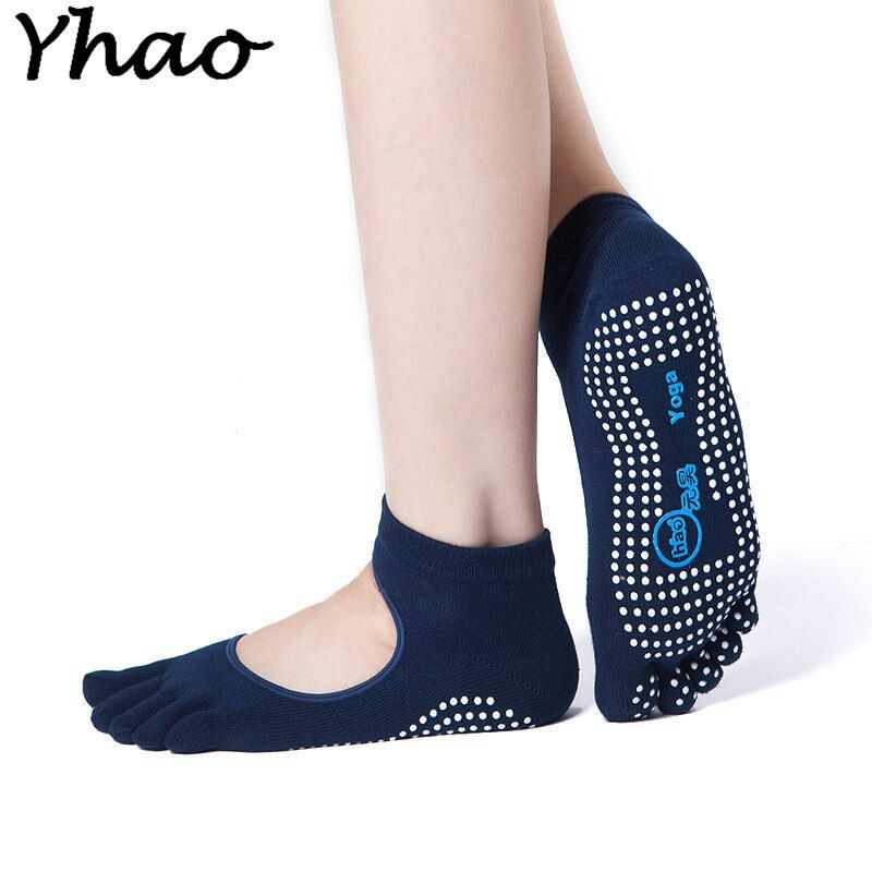 Yhao Frauen Baumwolle Yoga Socken Fünf Kappe Backless Anti-Slip Quick-Dry Ankle Grip Pilates Fitness Ballett Socken damen Sport Socken