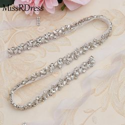 MissRDress Rhinestones Wedding Belt Sash Silver Diamond Crystal Bridal Belt For Wedding Gown Wedding Decoration JK863