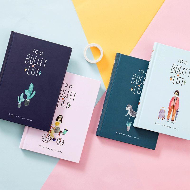 2019 coréen 100 seau à faire liste liste de souhaits Kawaii mignon fleur coloré en boîte planificateur quotidien école fournitures de bureau papeterie A5