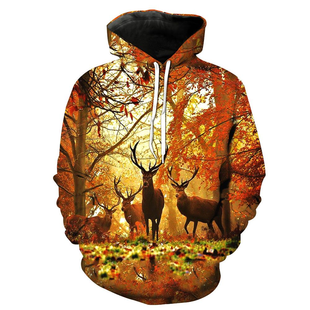 2018 New Fashion Sweatshirt Men / Women 3d Hoodies Print forest deer animal pattern Slim Unisex Slim Stylish Hooded Hoodies