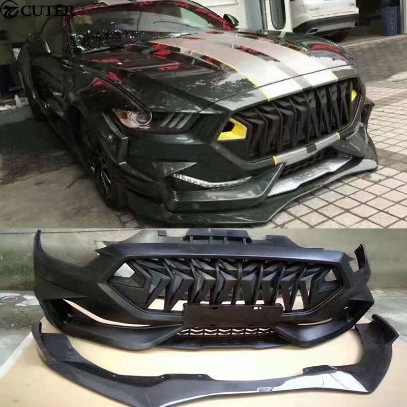 FRP Wide Car body kit Unpainted front bumper Carbon fiber front lip for Ford Mustang Limgene one's body kit 15-17