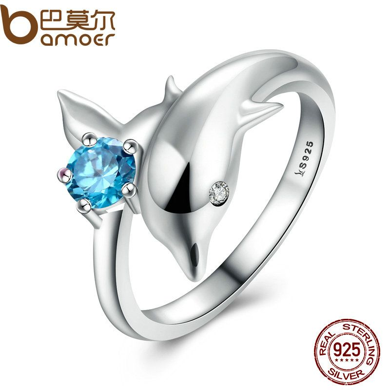 BAMOER Authentic 100% 925 Sterling Silver Dolphin's Love & Blue Crystal Finger Ring for Women Fashion Elegant Jewelry SCR037