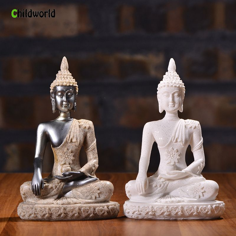 Nordic Style Sandstone Buddha Statue Resin Sculpture Crafts Creative Home Decor Accessories Home Decoration Gift