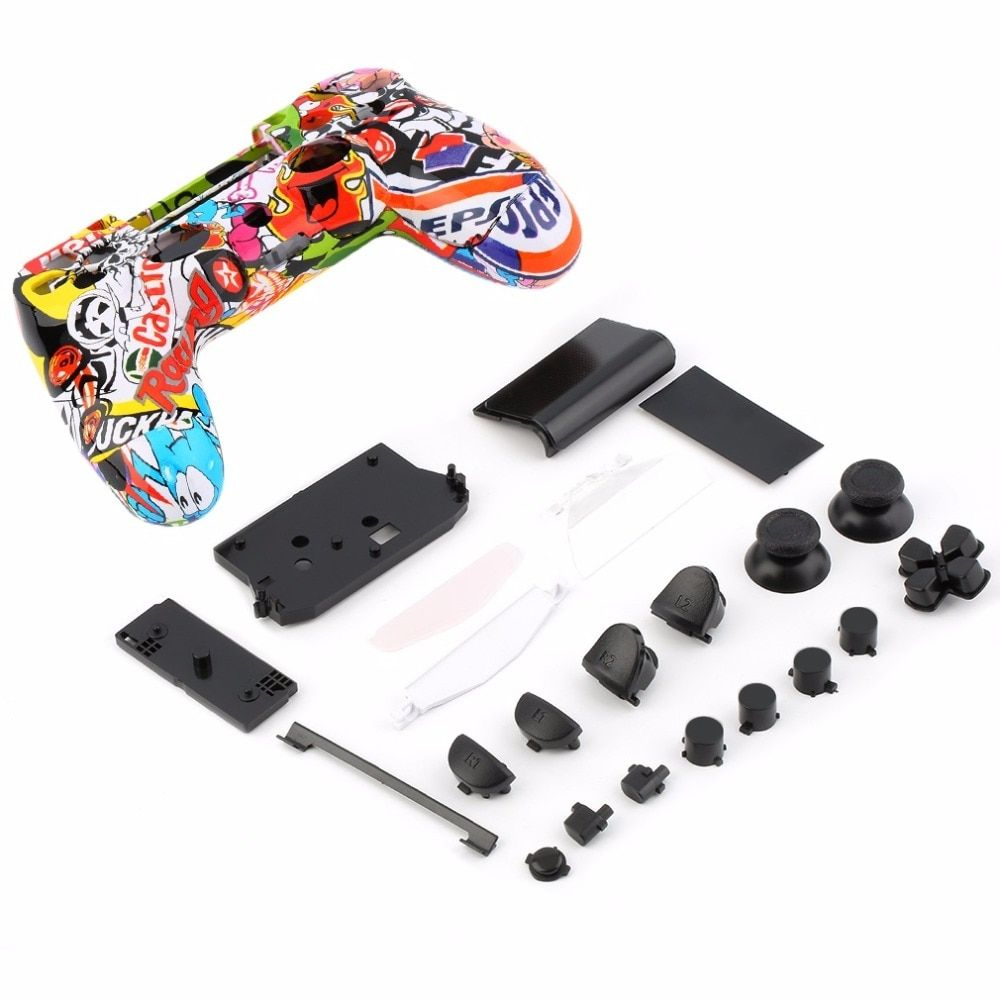 Skeleton Gamepad Controller Housing Shell W/Buttons Kit for PS4 Handle Cover