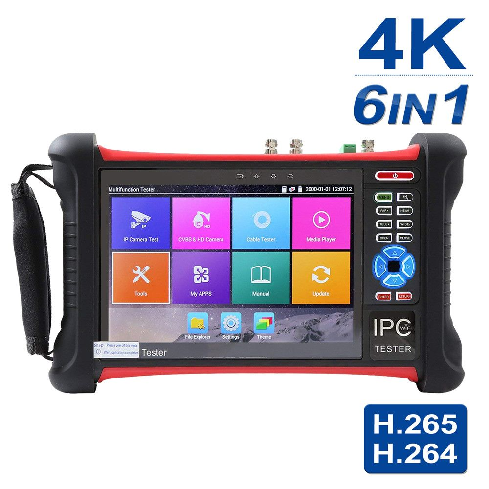 7 inch 5 in 1 IP Camera Tester Security CCTV Tester Monitor for IP/AHD/CVI/TVI/Analog/ SDI Cameras Touch screen Tester Play