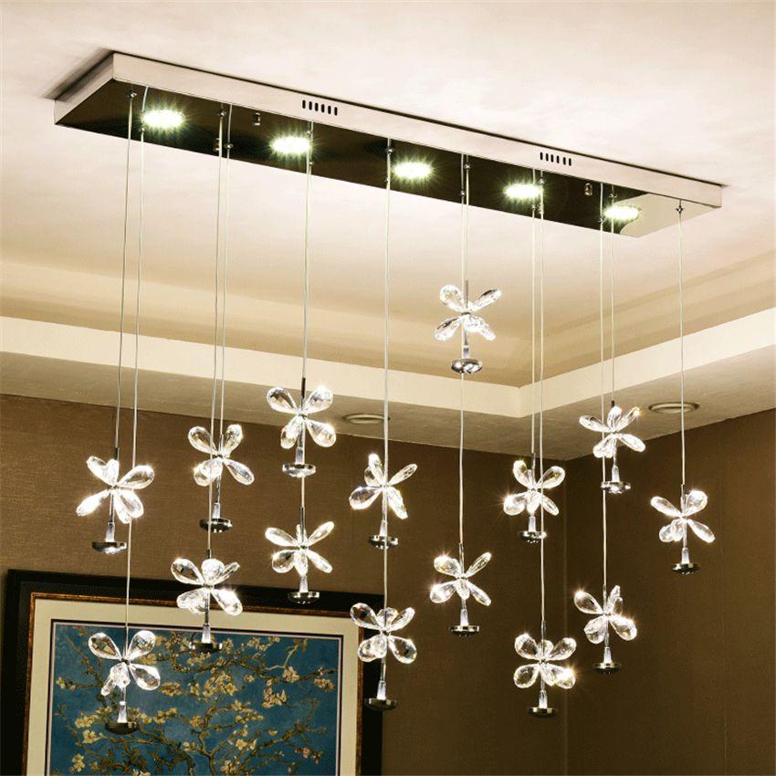 Modern Lights Led Crystal Chandelier Bedroom Living Room Decor Bar Adjustable Pendant Lamps Hotel Lobby Lighting Hanging Lamps