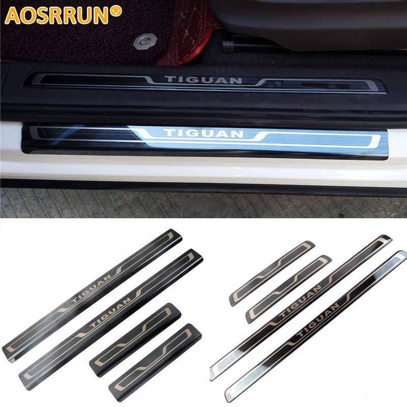 AOSRRUN Stainless steel scuff plate door sill Trim Car Accessories car styling For Volkswagen VW Tiguan MK2 2017 2018 2016