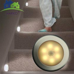 6 LED PIR Body Motion Sensor Activated Wall Light Night Light Cabinet Automatic Light Lamp Night Emergency Lighting