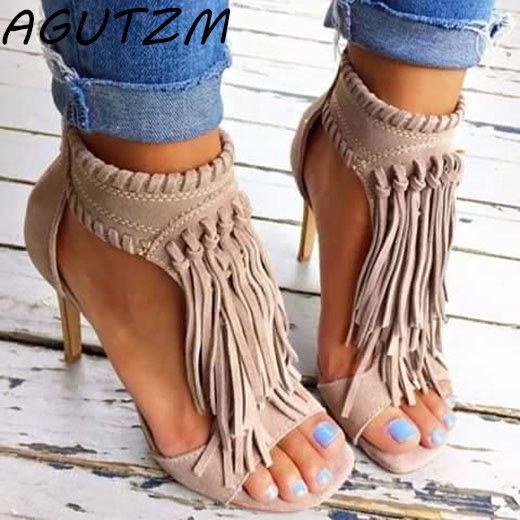 AGUTZM 2018 Black Apricot Sexy Women Tassel Sandals Open Top Zipper High Heels 12 cm Sandals Woman Shoes <font><b>Plus</b></font> Big Size 34-43