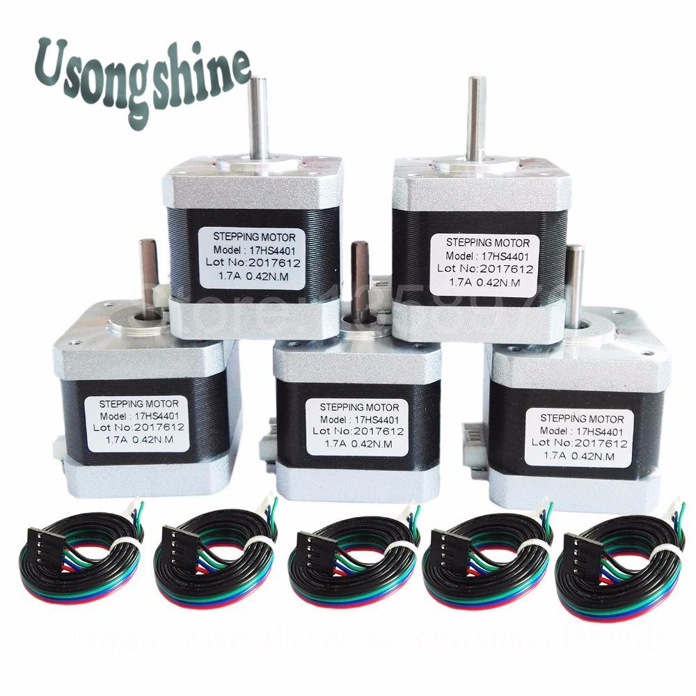 5Pcs/lot 17HS4401 4-lead Nema17 Stepper Motor 42 motor Nema 17 motor 42BYGH 1.7A (17HS4401) motor for 3d printer and CNC XYZ