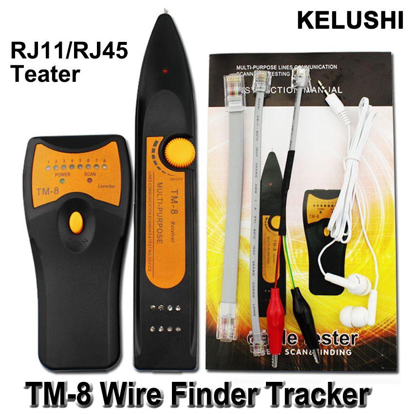 KELUSHI 2018 date RJ11 RJ45 Cat5 Cat6 téléphone fil Tracker Toner Ethernet LAN réseau câble testeur détecteur ligne Finder TM8
