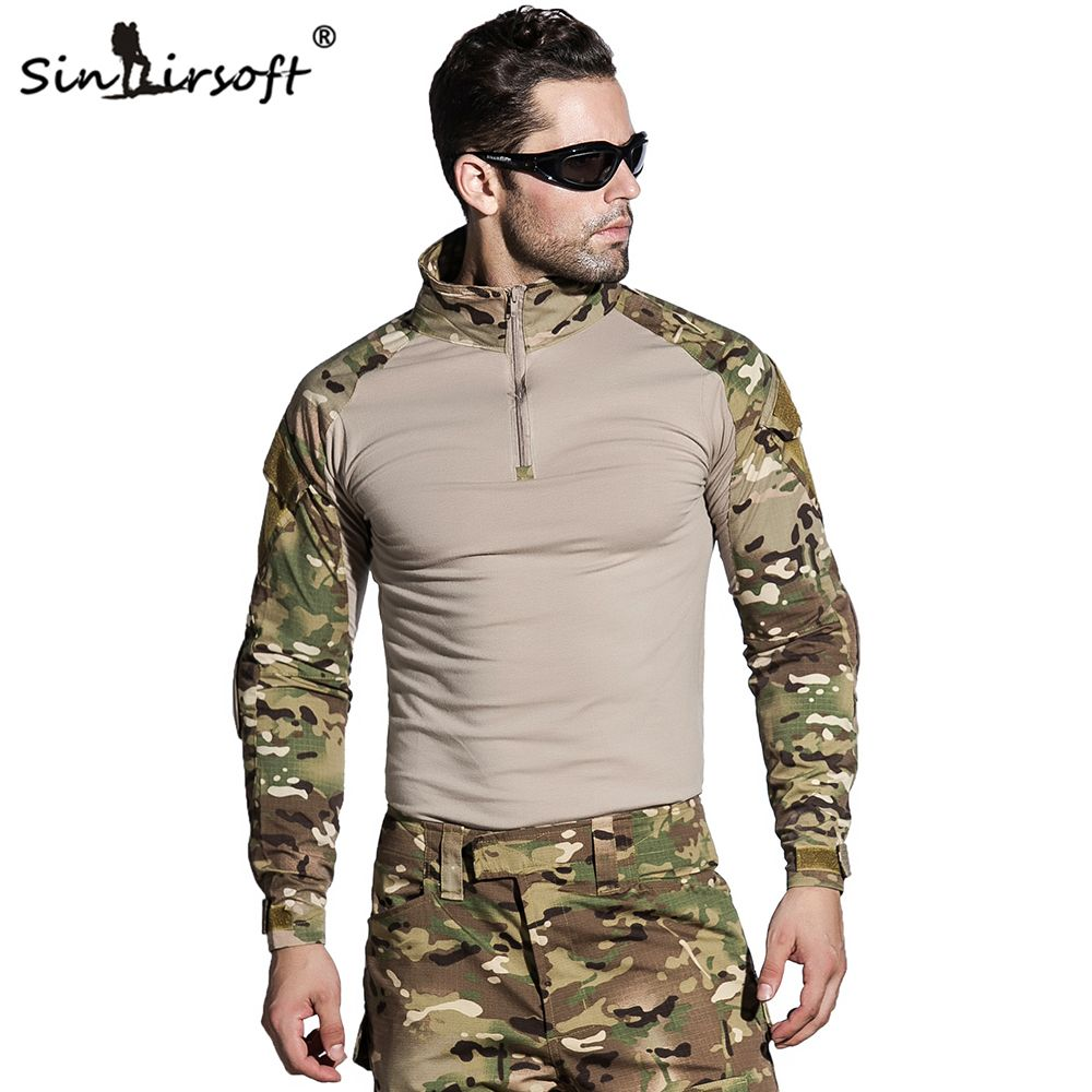 SINAIRSOFT Military Uniform Multicam Army Combat Shirt Uniform Tactical Pants With Knee Pads Camouflage Suit Hunting Clothes