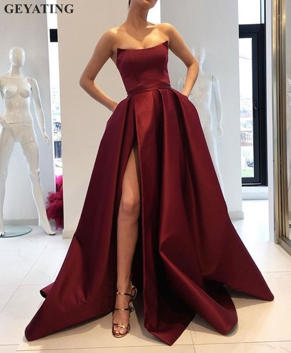 2018 Burgundy Prom Dresses with Pockets Side Slit Strapless Satin Elegant Long Evening Party Gowns Wine Red Women Formal Dress