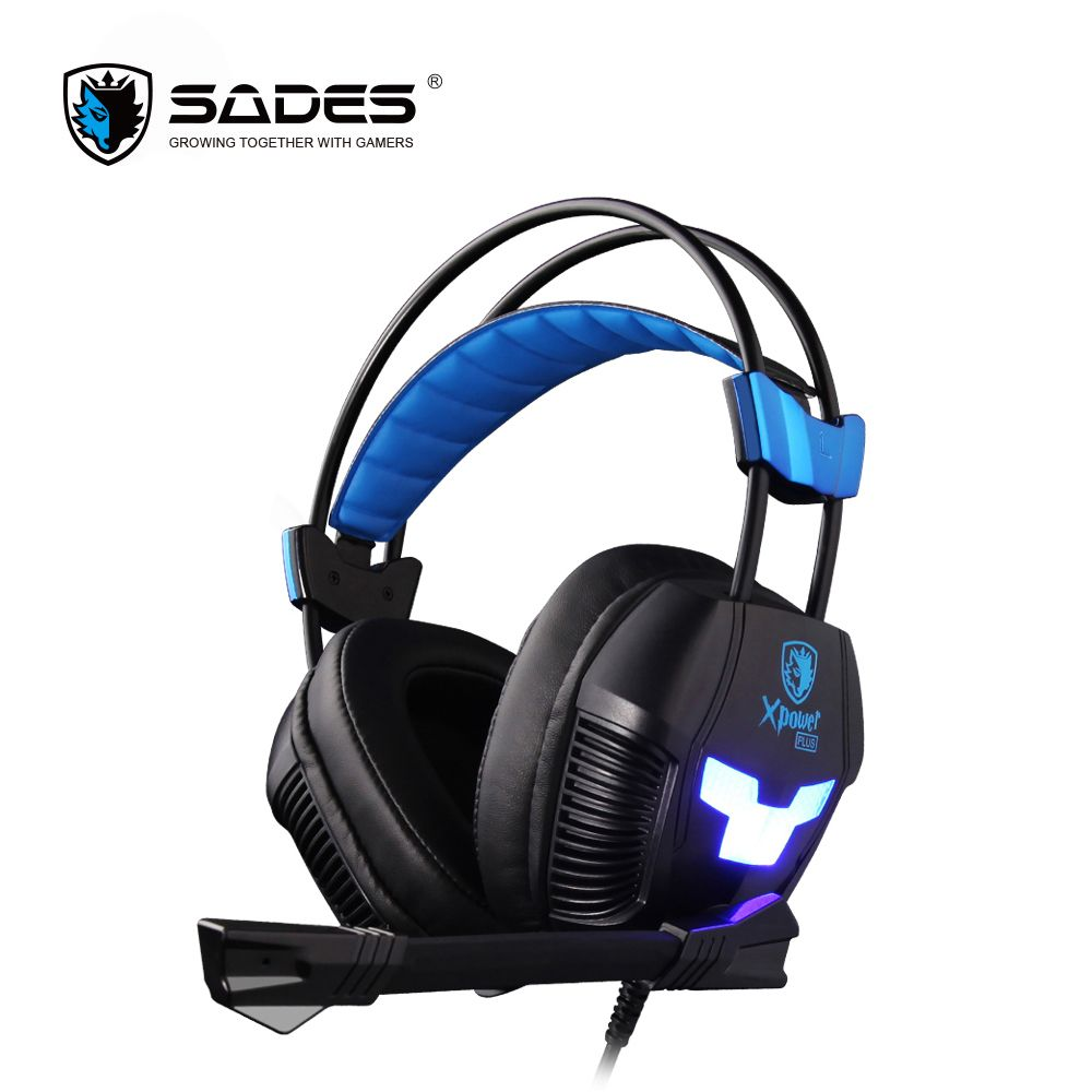 SADES Xpower Plus Gaming Headphones Stereo Surround Sound & 2-Level Vibration effect Headset Over-ear Casque with Cool LED Light