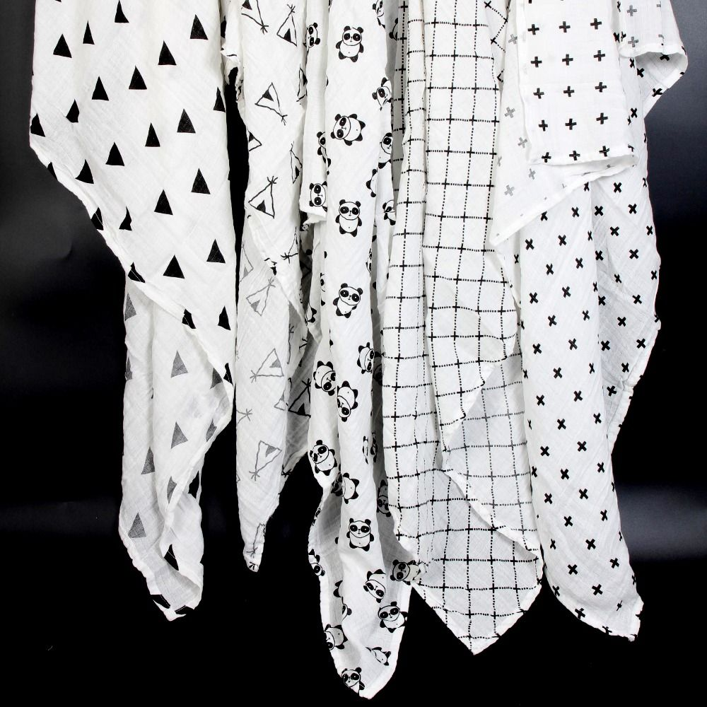 Ainaan Муслин Хлопок Детские пеленает для новорожденных Одеяла черные и белые марли Для ванной Полотенца