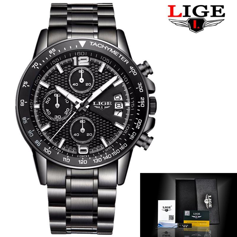 Mens Watches Top Brand Luxury LIGE Male Fashion Sports Watch Men Military Quartz-watch Waterproof Man Clock Relogios Masculino