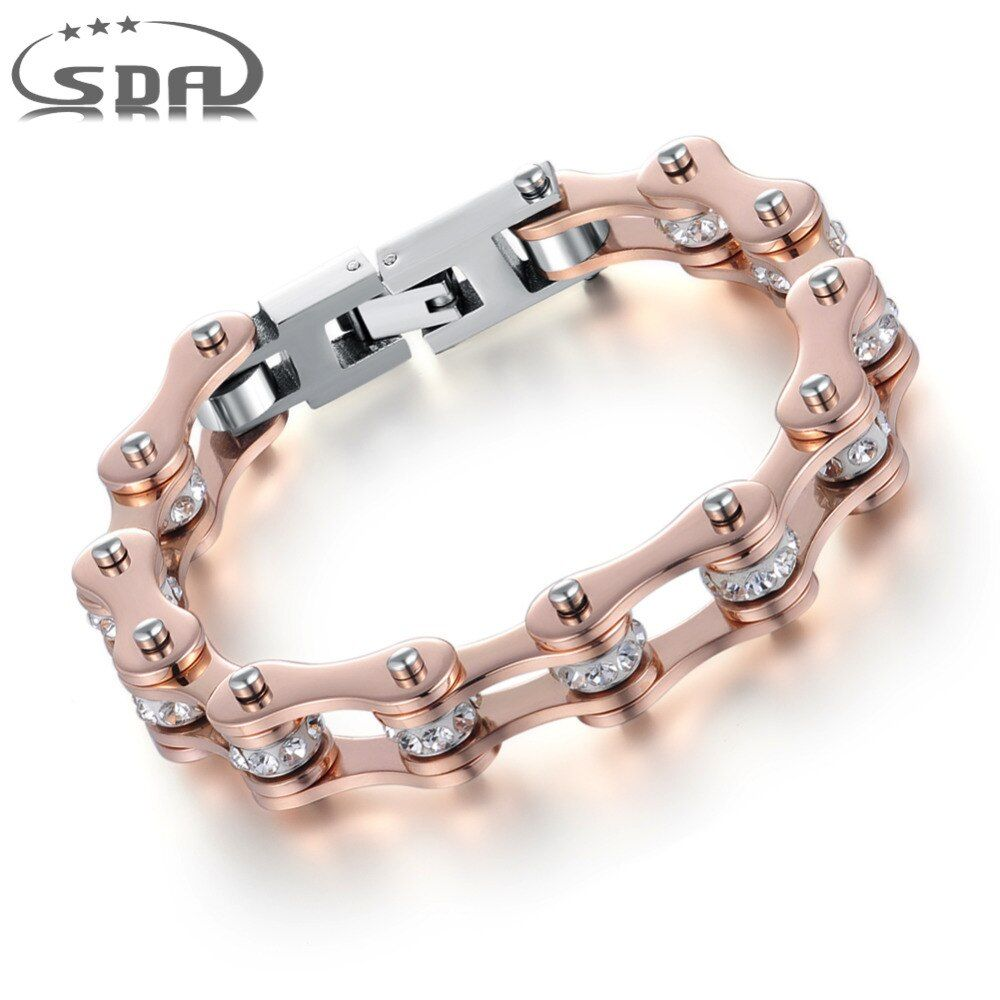 SDA High Quality IP Rose Gold <font><b>Color</b></font> Crystal Motorcycle Chain Bracelet For Women 316L Stainless Steel Biker Chain Bracelets YM103