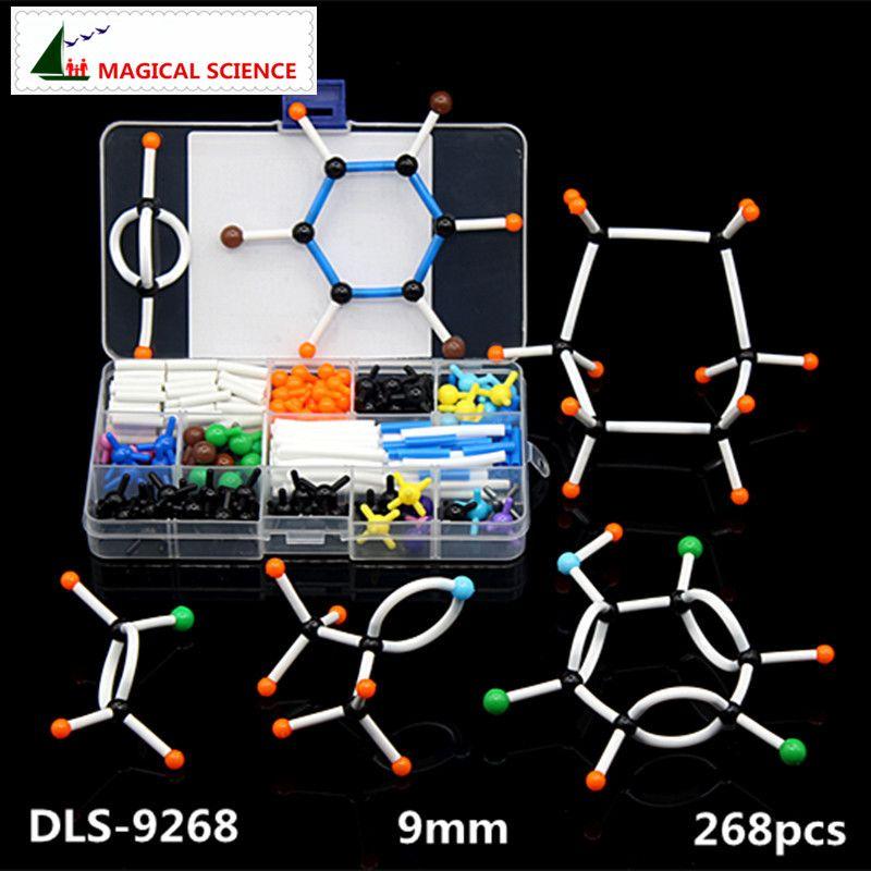 268 pièces ensemble de modèles moléculaires DLS-9268 molécules de chimie organique Structure Kits de modèles pour la recherche pédagogique de l'école série 9mm