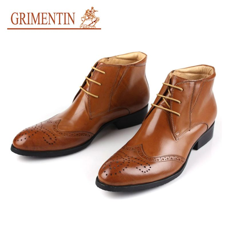 GRIMENTIN Hot Sale Fashion British Designer Mens Ankle Boots Genuine Leather High Top Men Dress shoes luxury formal boots H28