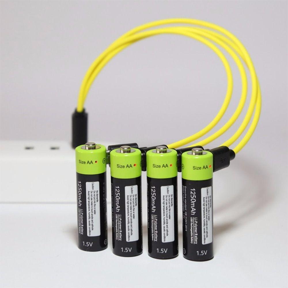ZNTER AA 1.5 V 1250 mAh batterie 2/4 pcs USB charge rapide Rechargeable Lithium polymère batterie chargée par Micro câble USB