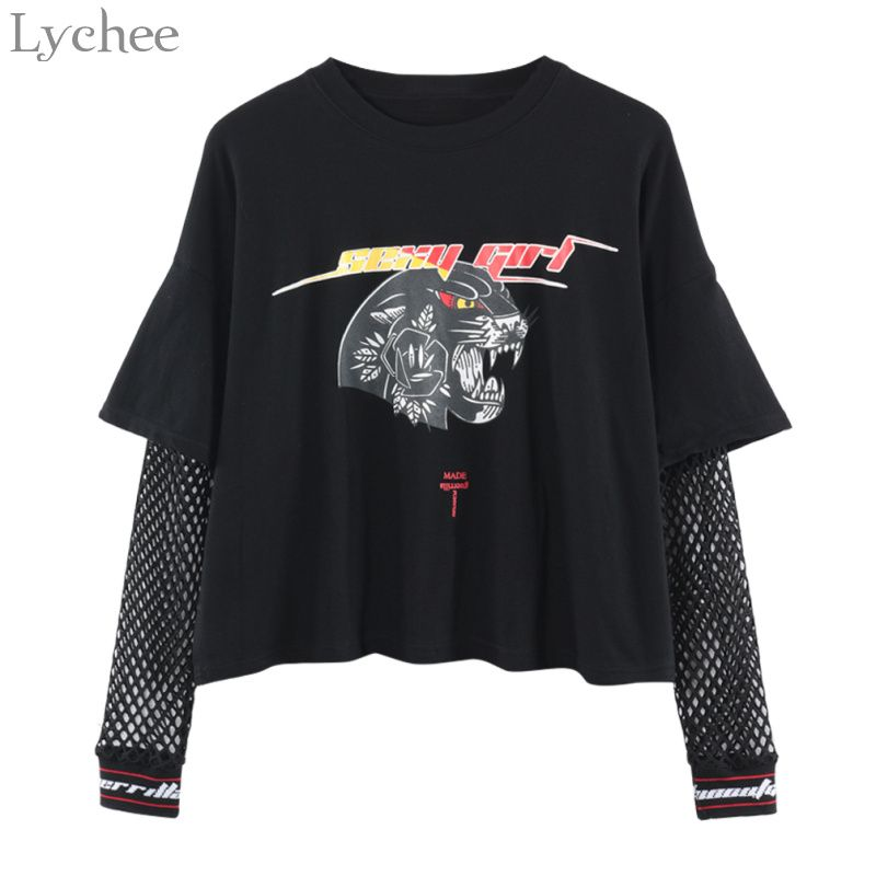 Lychee Harajuku Punk Women T Shirt Mesh Hollow Out Patchwork Letter <font><b>Leopard</b></font> Print Casual Long Sleeve T-shirt Tee Top