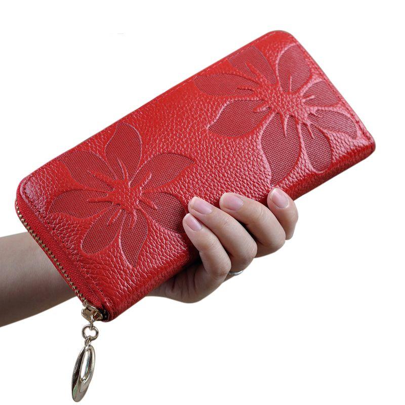 Echtem Leder weiblichen Handtasche Frauen Brieftasche Neue Mode-stil beste Zip blumenmuster Dame Lange Brieftasche schwarze Handtasche Handliche Handtasche