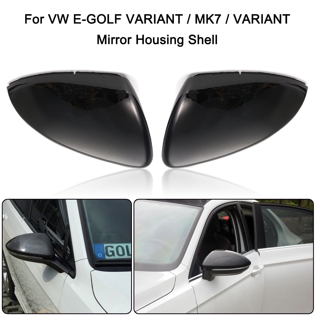 Pair Rearview Mirror Cover Side Rear View Mirrors Covers For VW Golf MK7 Golf Variant E-Golf L+R