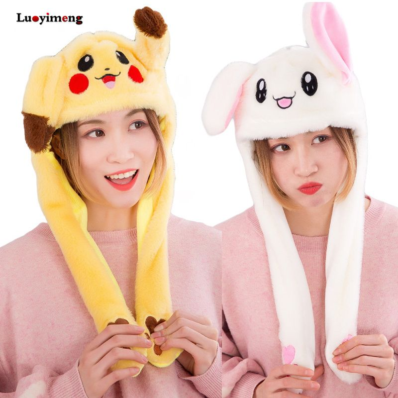 Filles animaux oreille mobile sautant chapeaux enfants femmes chaud en peluche lapin hiver casquettes enfants dessin animé lapin créatif Airbag drôle chapeaux