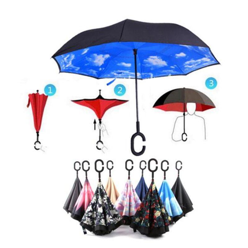 Прямая доставка путешествия зонтик сильный Водонепроницаемый c Форма двойной Слои заднего зонтик открыть/закрыть для Для женщин мужчин
