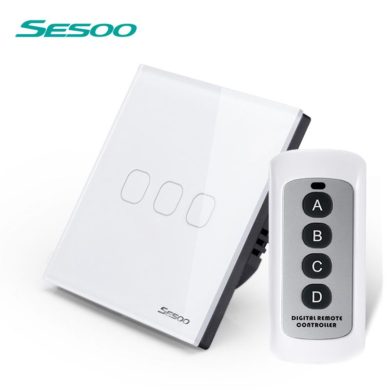 SESOO EU/UK Touch switch 110-240v 3 Gang 1 crystal toughened glass panel LED wall lamp switch white