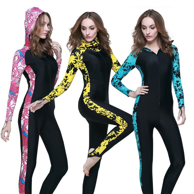 SBART PADDED Nylon Spandex UPF50+ 4XL women wetsuit Jellyfish protect diving suit long surf Navy wet suit